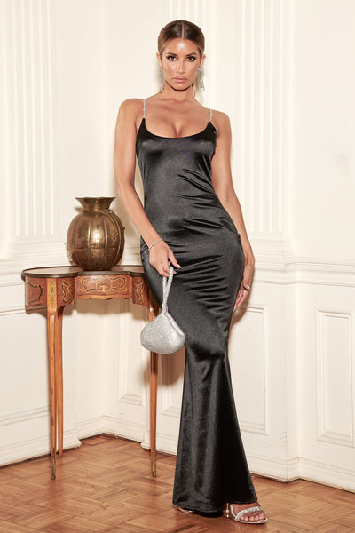 Ruby Diamante Strap Maxi Dress - Black
