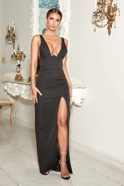 Lillian Corseted Fitted Gown - Black