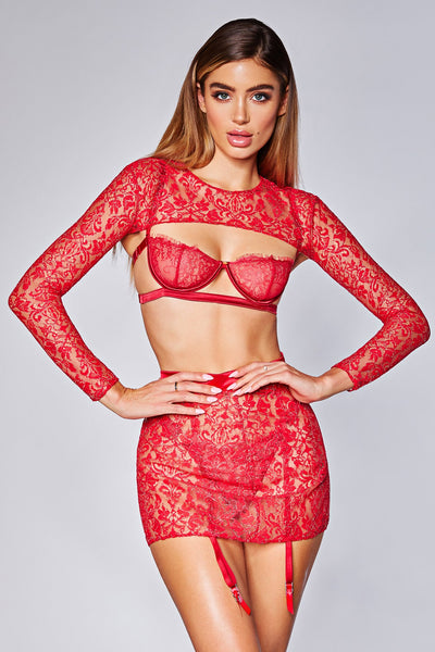 Allora Lace Extreme Crop Top - Red - MESHKI