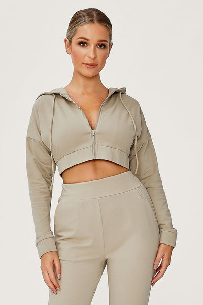 Graciella Zip Through Cropped Loopback Hoodie - Olive