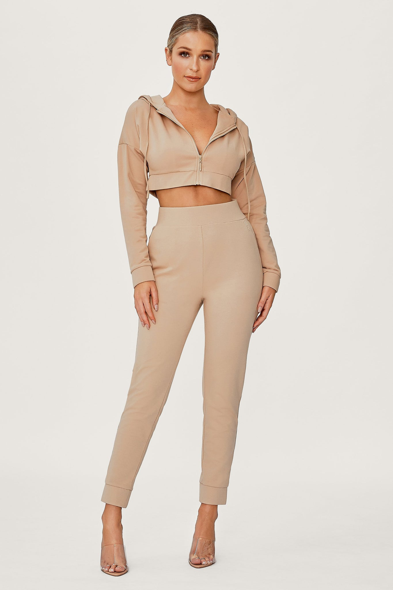 Graciella Zip Through Cropped Loopback Hoodie - Almond - MESHKI