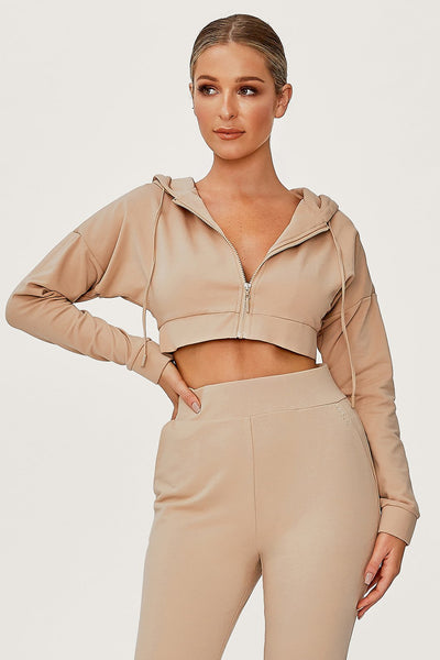 Graciella Zip Through Cropped Loopback Hoodie - Almond