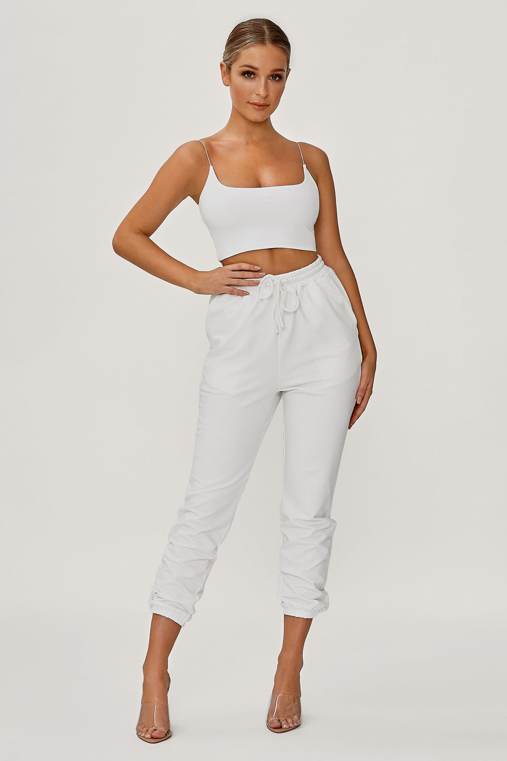 Kaiya Thin Strap Scoop Neck Crop Top - White - MESHKI