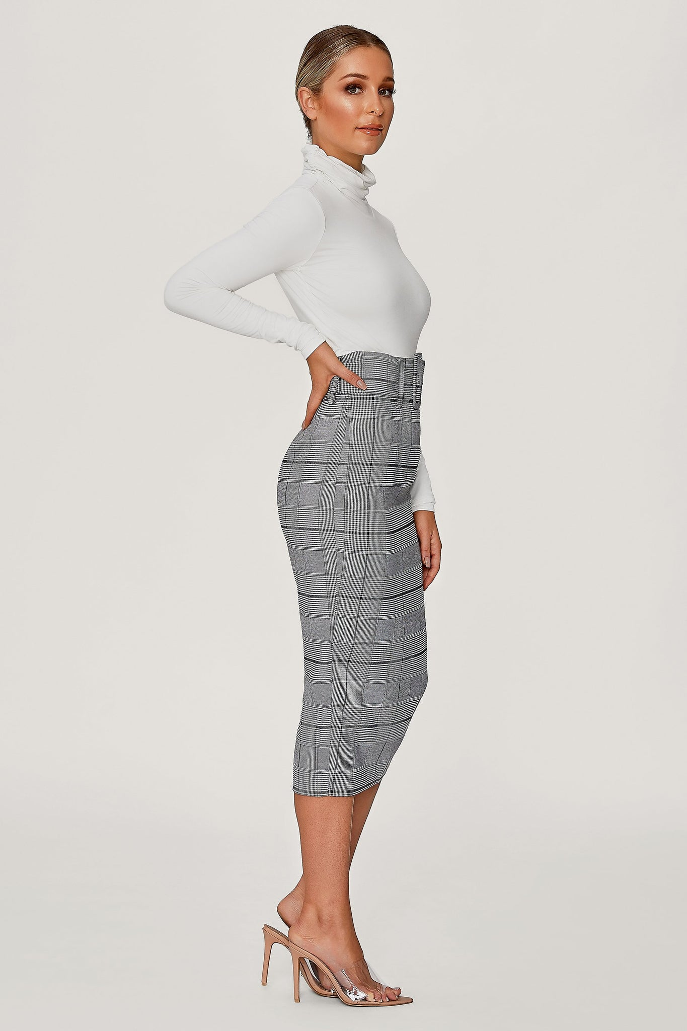 Verona Belted Midi Skirt - Check - MESHKI