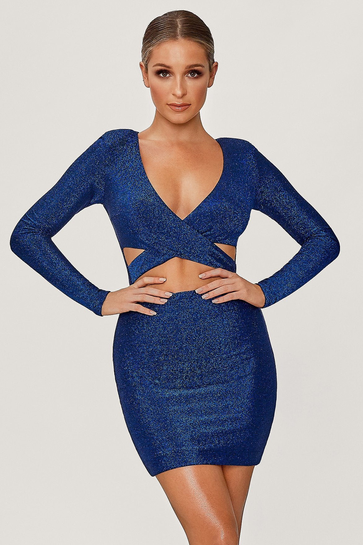 Celeste Shimmer Wrap Mini Dress - Bright Blue - MESHKI