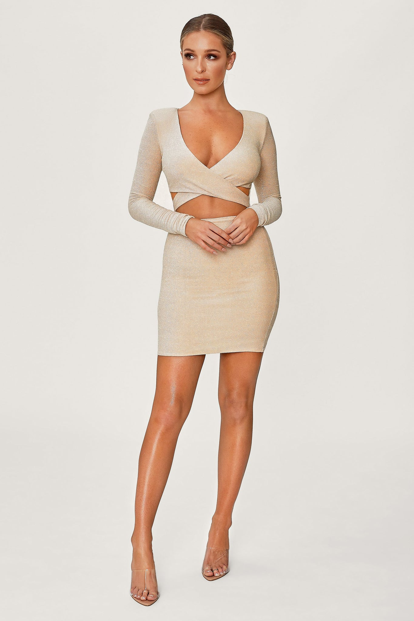 Celeste Shimmer Wrap Mini Dress - Gold - MESHKI
