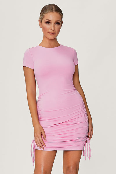 Britta Ruched Side Short Sleeve Mini Dress - Pink