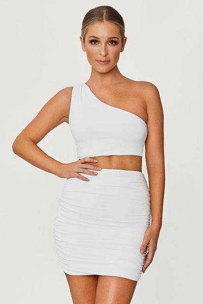 Lori Ruched Side Mini Skirt - White