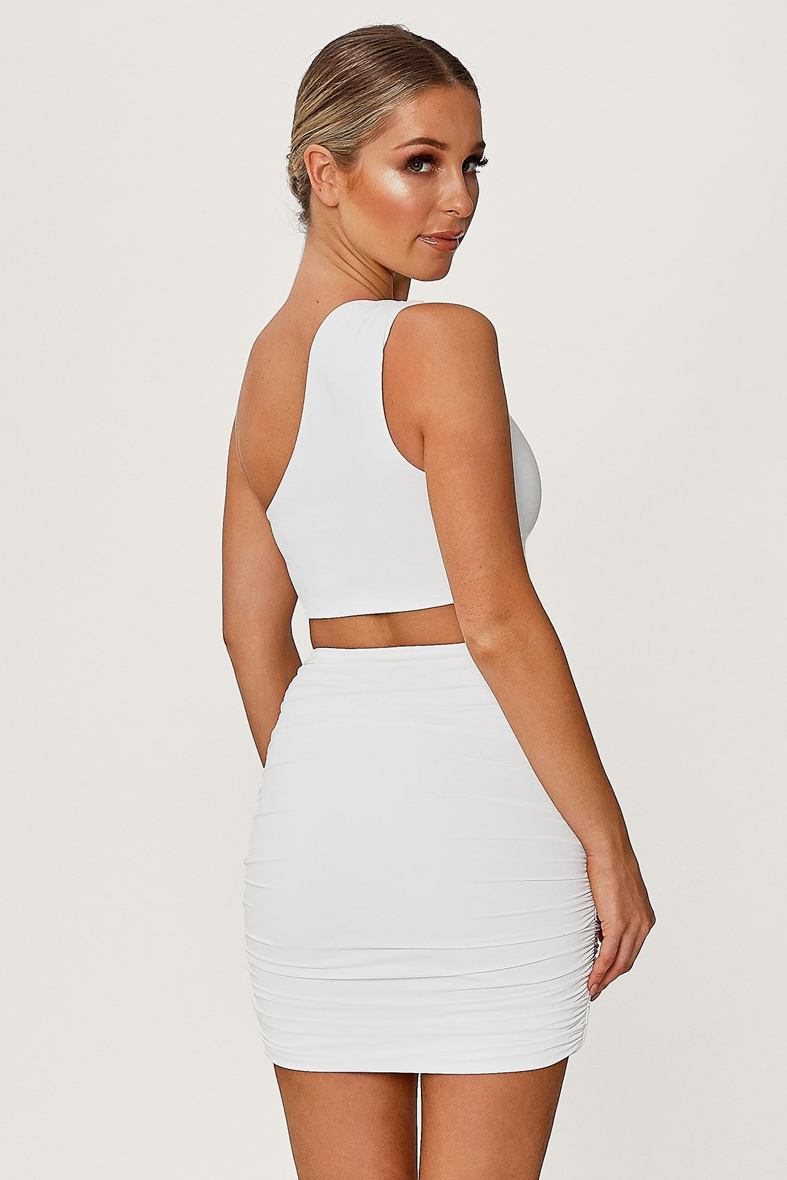 Lori Ruched Side Mini Skirt - White - MESHKI