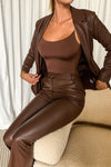 Hallie Pu Cinched Blazer - Chocolate