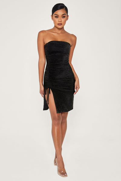Nellie Ruched Side Shimmer Mini Dress - Black
