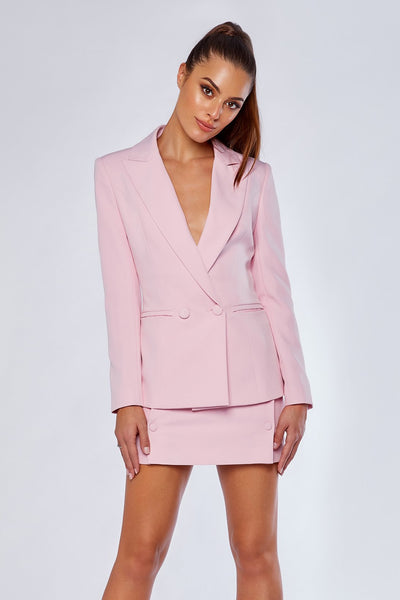 Charlize Double Breasted Long Blazer - Light Pink