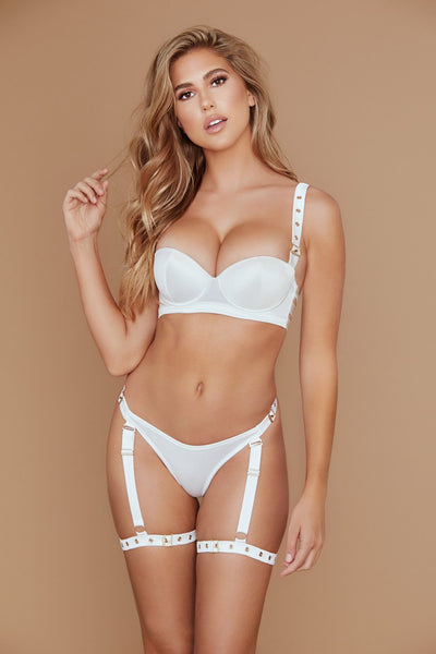 Alison Satin Buckle Push Up Bra - Ivory