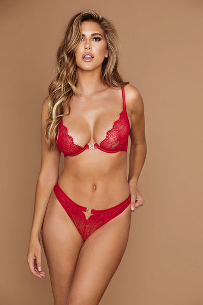 Stevie Lace High Waist Brazilian Briefs - Red