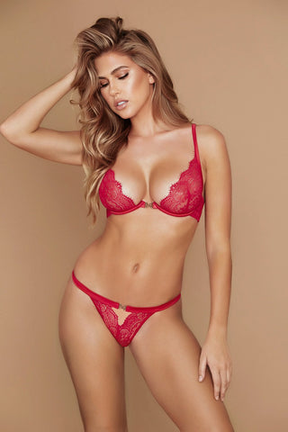 Stevie Lace V-String - Red - MESHKI