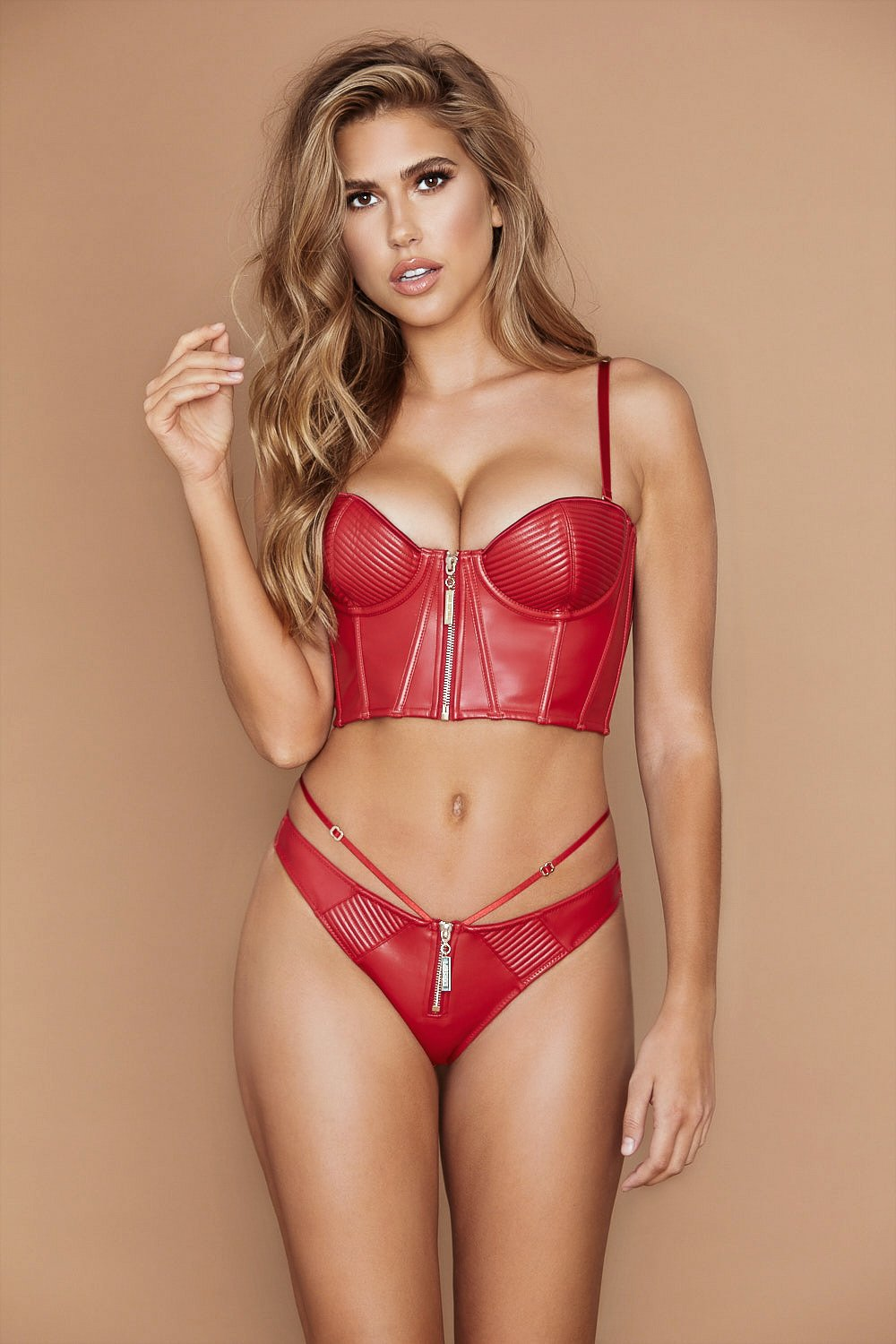 Ursula Leather Bustier - Red - MESHKI