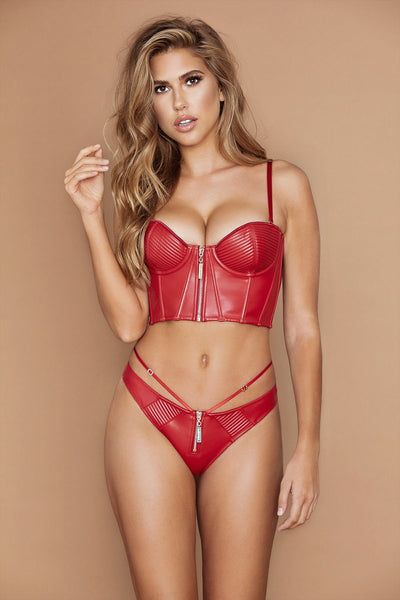 Ursula Leather Bustier - Red