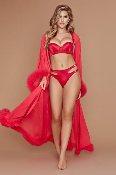 Clara Long Feather Trim Wrap Robe - Red