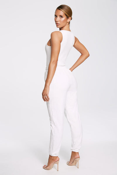 Milei Sleeveless Button Up Bodysuit - White - MESHKI