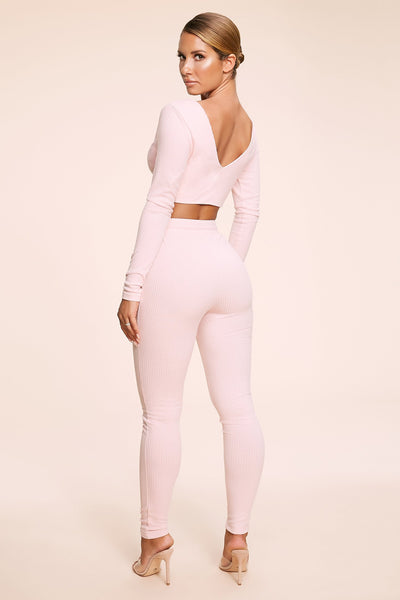 Isabel Ribbed Leggings - Pink - MESHKI