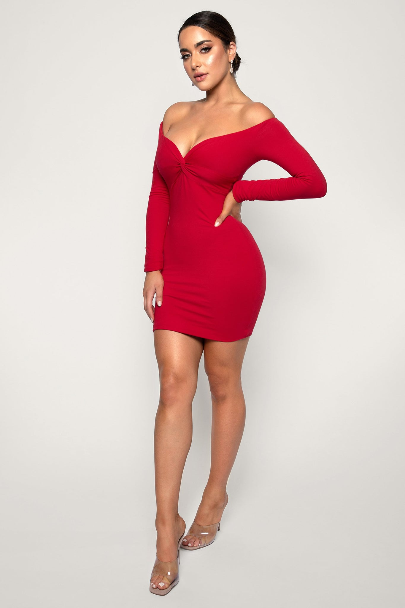 Madilynn Off The Shoulder Twist Front Mini Dress - Red - MESHKI