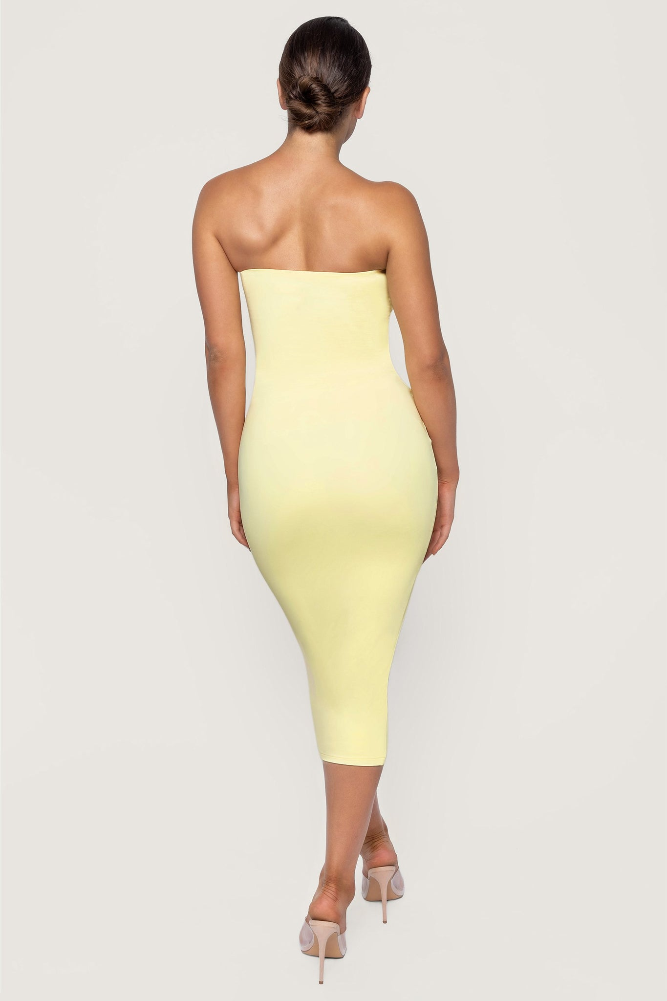 Emilee Strapless Midaxi Dress - Lemon - MESHKI