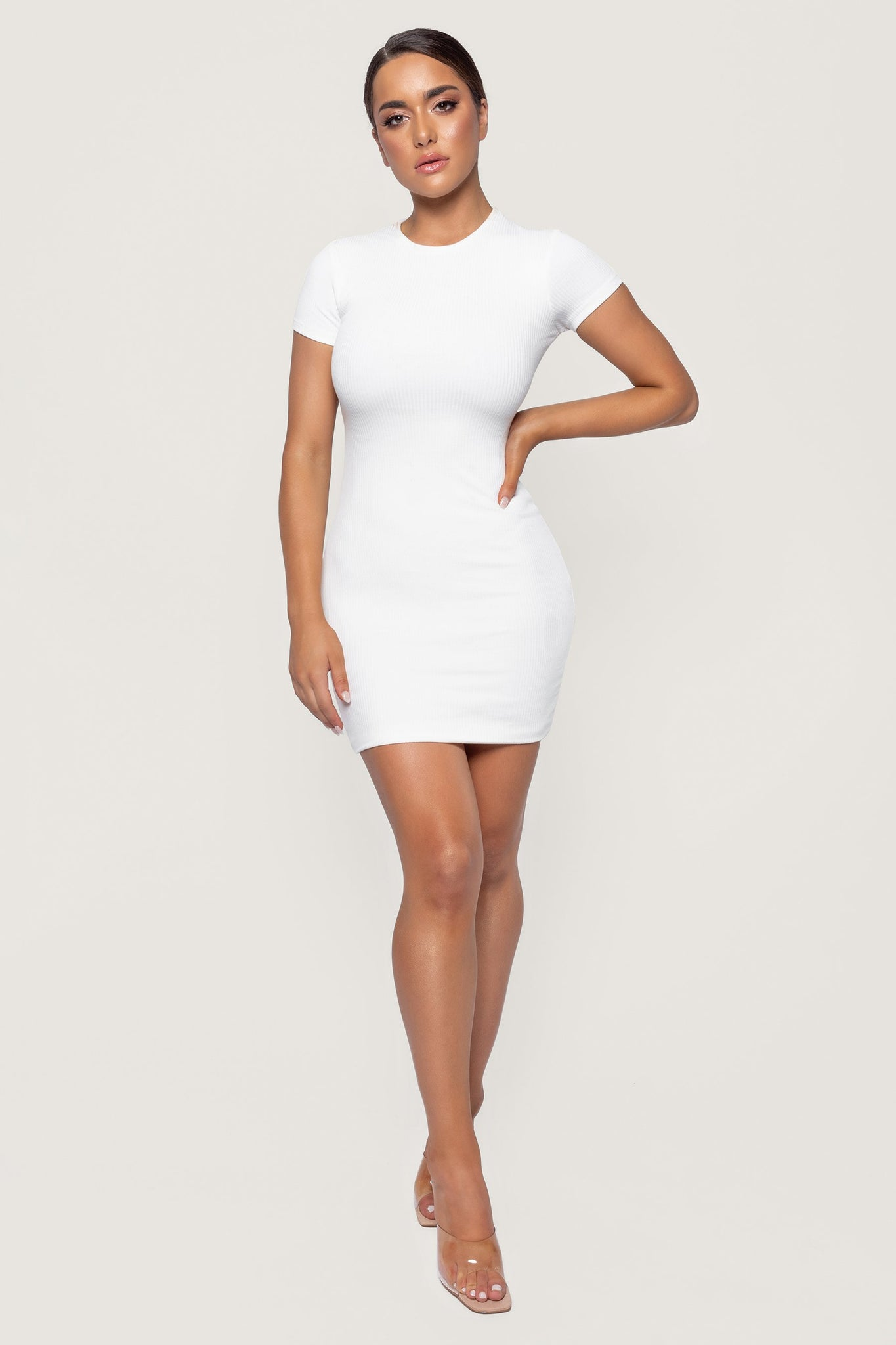 Kiya Short Sleeve Ribbed Mini Dress - White - MESHKI