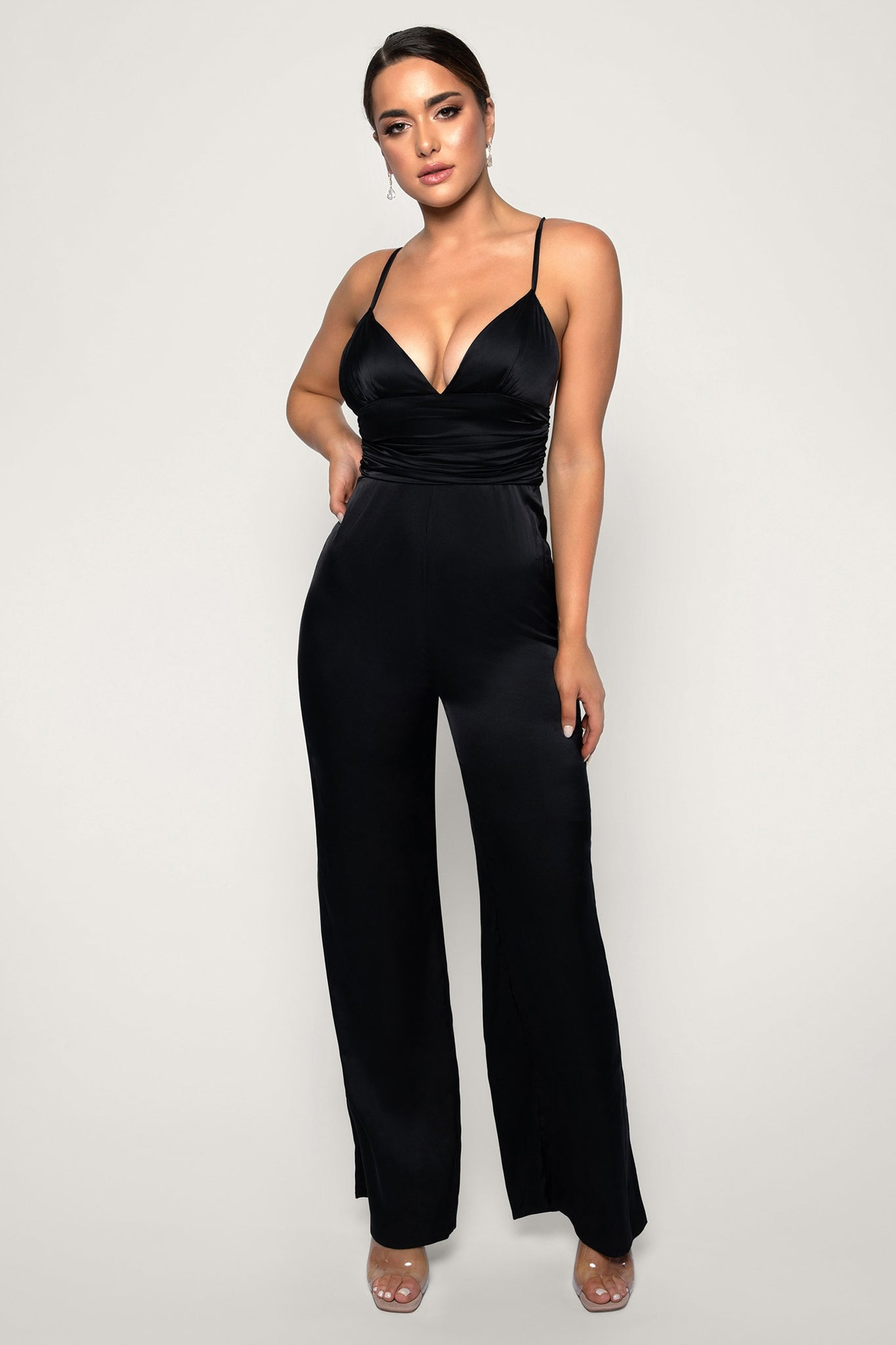 Chana Ruched Jumpsuit - Black - MESHKI