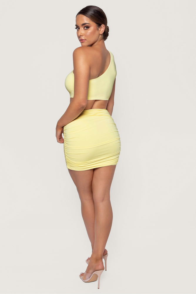 Lori Ruched Side Mini Skirt - Lemon - MESHKI