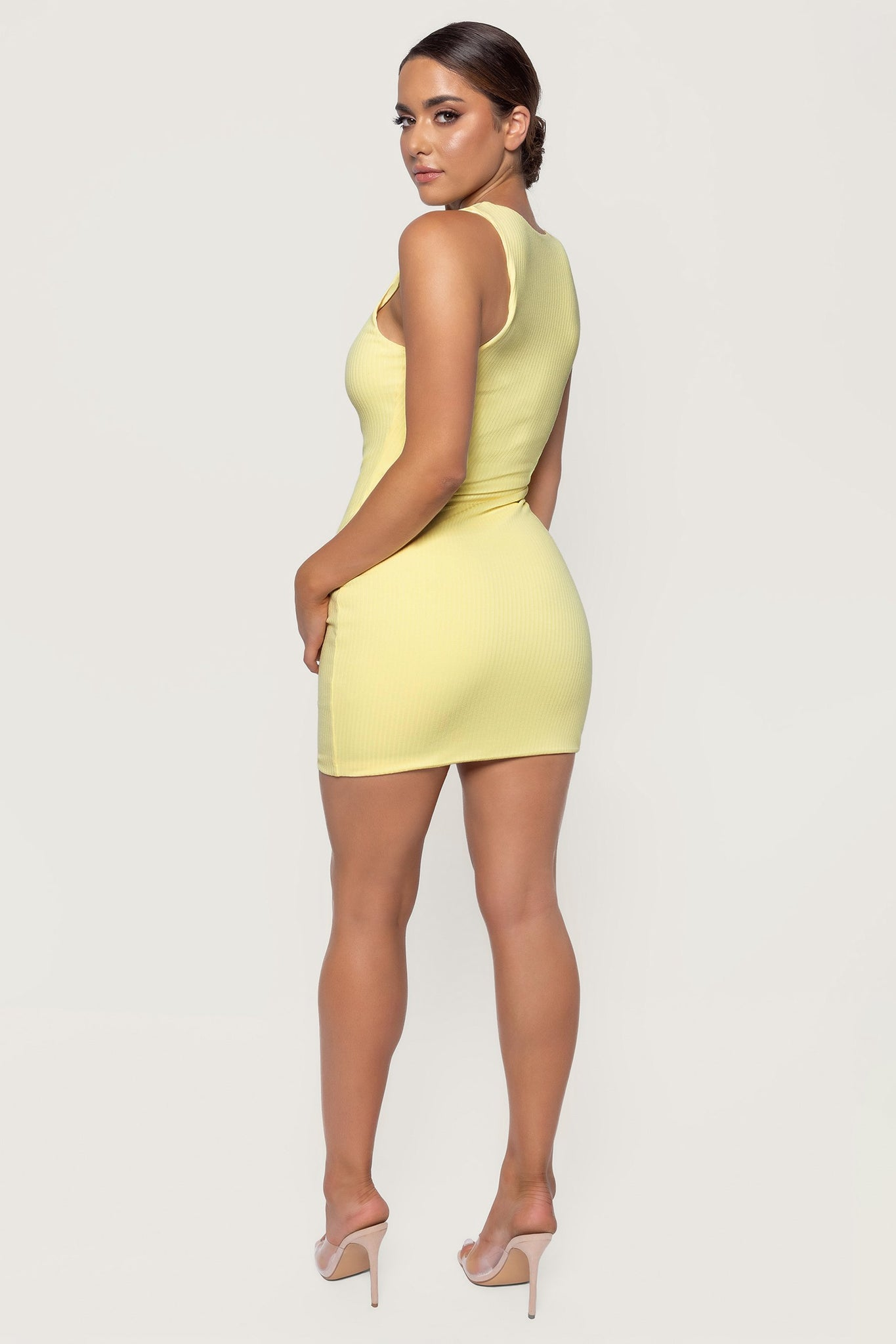 Pania Ribbed Sleeveless Mini Dress - Lemon - MESHKI