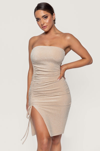 Nellie Ruched Side Shimmer Mini Dress - Gold