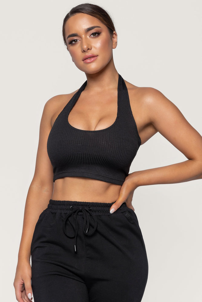 Courtnie Ribbed Halter Crop Top - Black - MESHKI