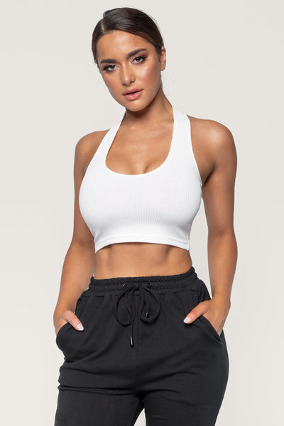 Courtnie Ribbed Halter Crop Top - White