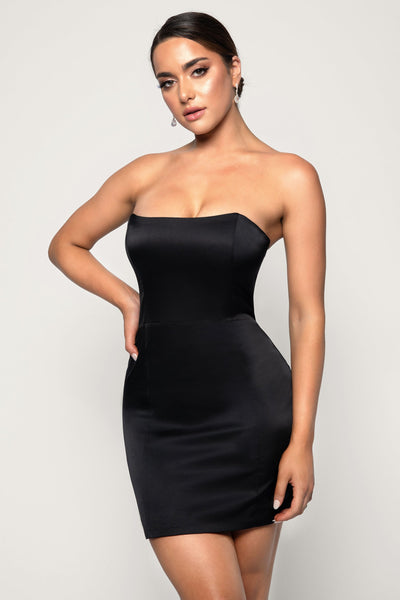 Kalita Strapless Satin Mini Dress - Black