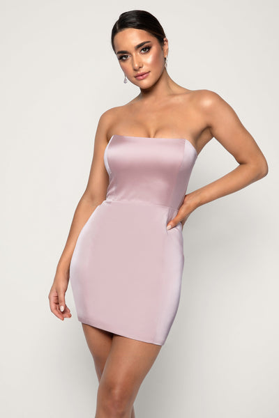 Kalita Strapless Satin Mini Dress - Blush