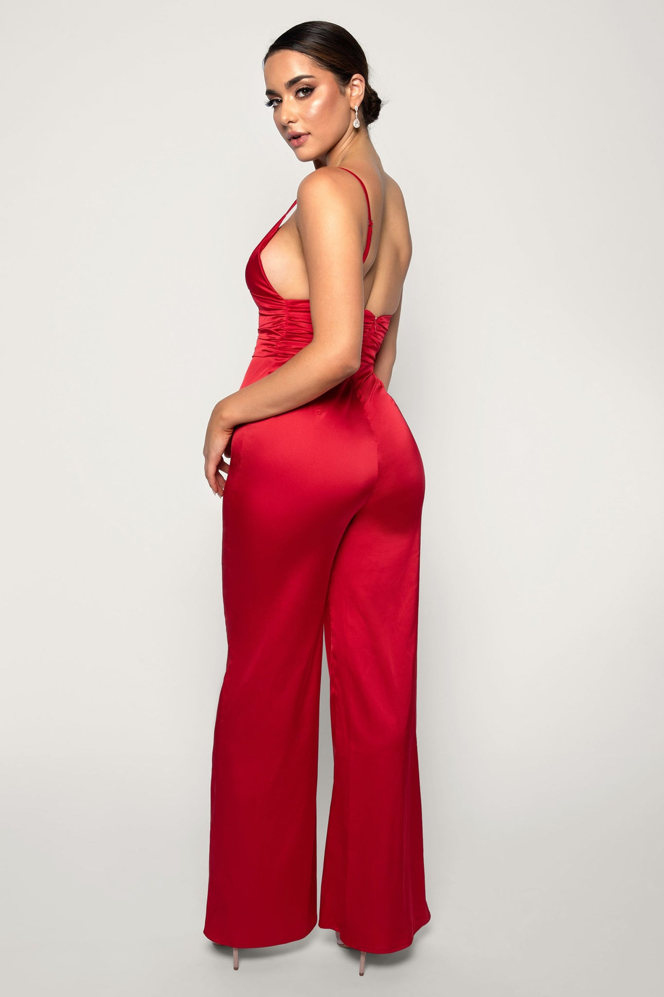 Chana Ruched Jumpsuit - Red - MESHKI