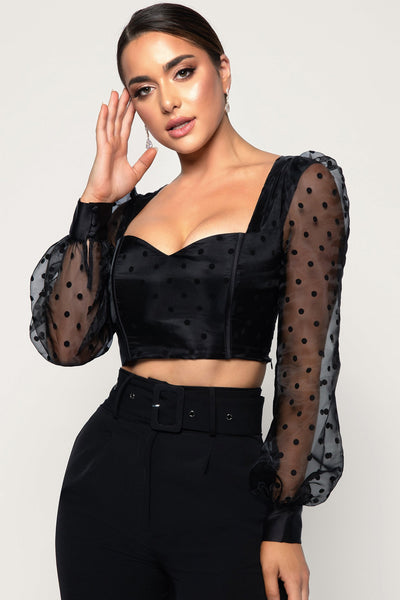 Saylor Polkadot Puff Sleeve Corset Top - Black