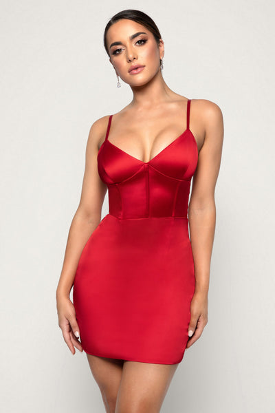 Ludovica Satin Mini Dress - Red