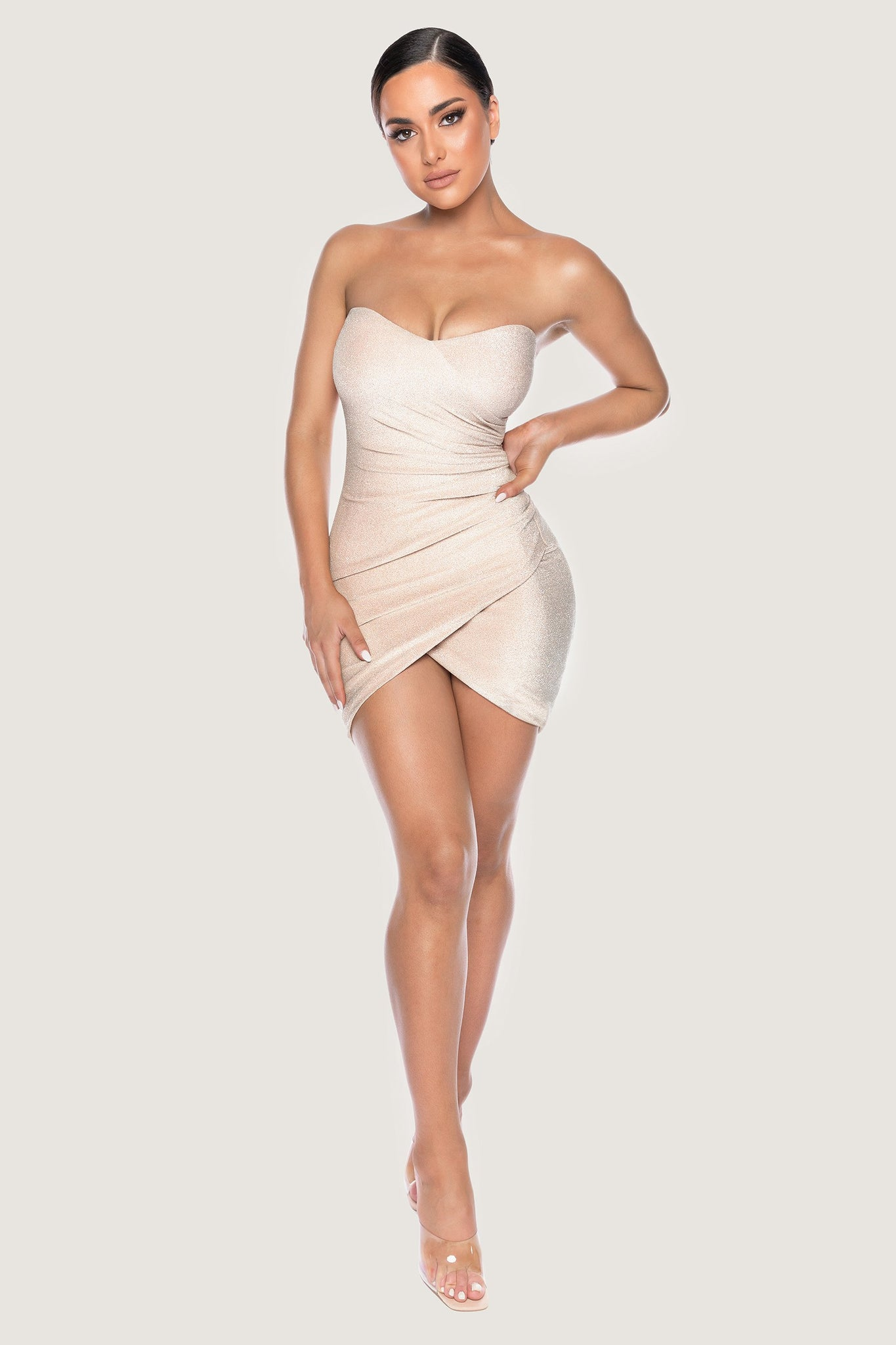 Palma Shimmer Strapless Wrap Dress - Gold - MESHKI