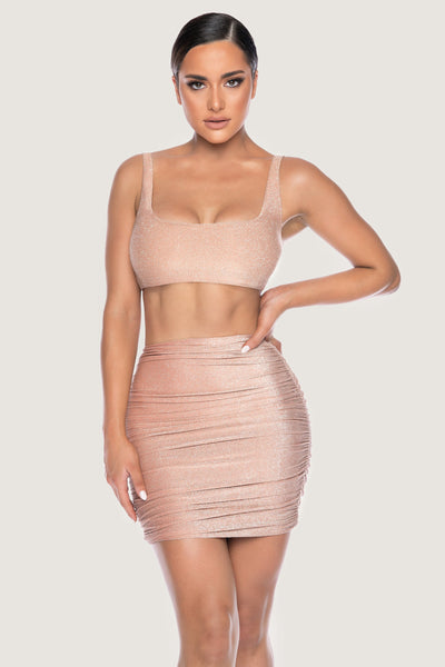 Marnie Shimmer Ruched Mini Skirt - Bronze