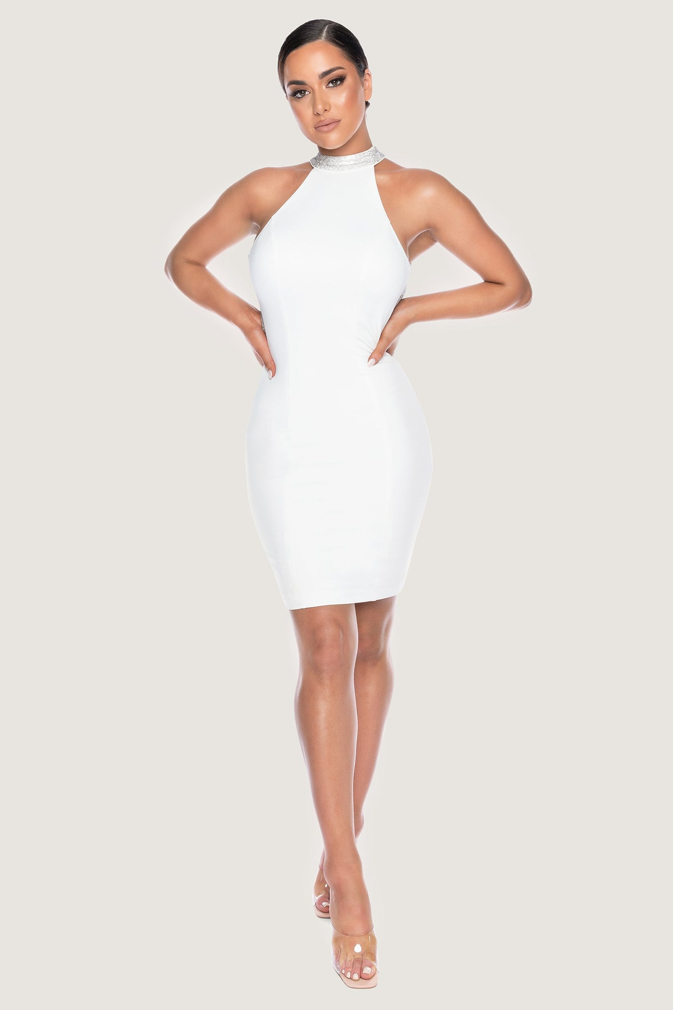 Stephanie Diamante Back Mini Dress - White - MESHKI
