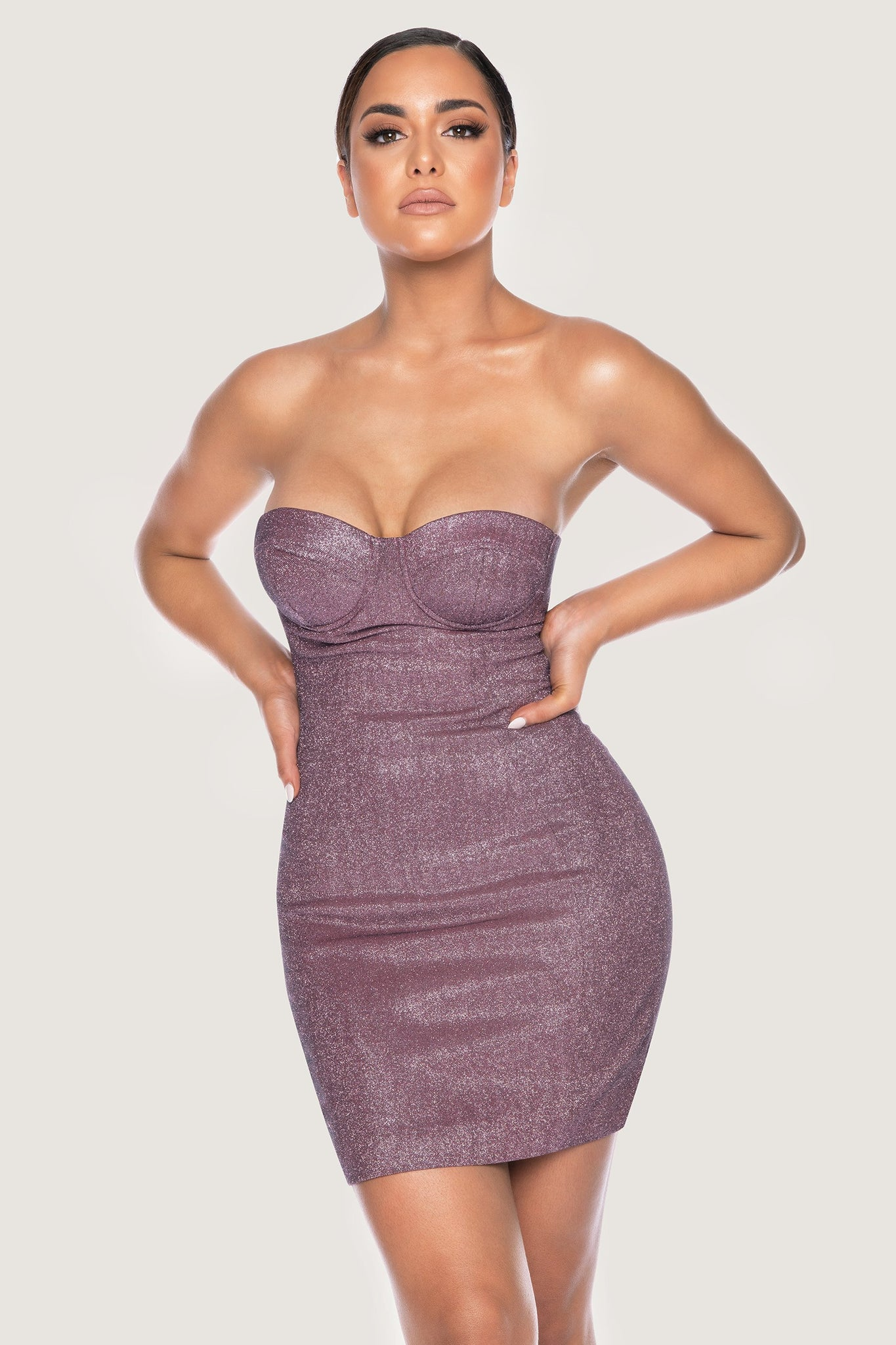 Lorene Shimmer Cupped Bodycon Mini Dress - Purple - MESHKI