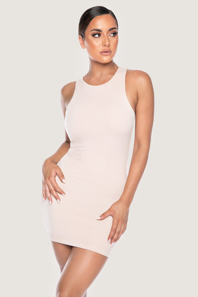 Pania Ribbed Sleeveless Mini Dress - Nude