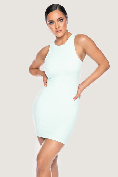 Pania Ribbed Sleeveless Mini Dress - Mint