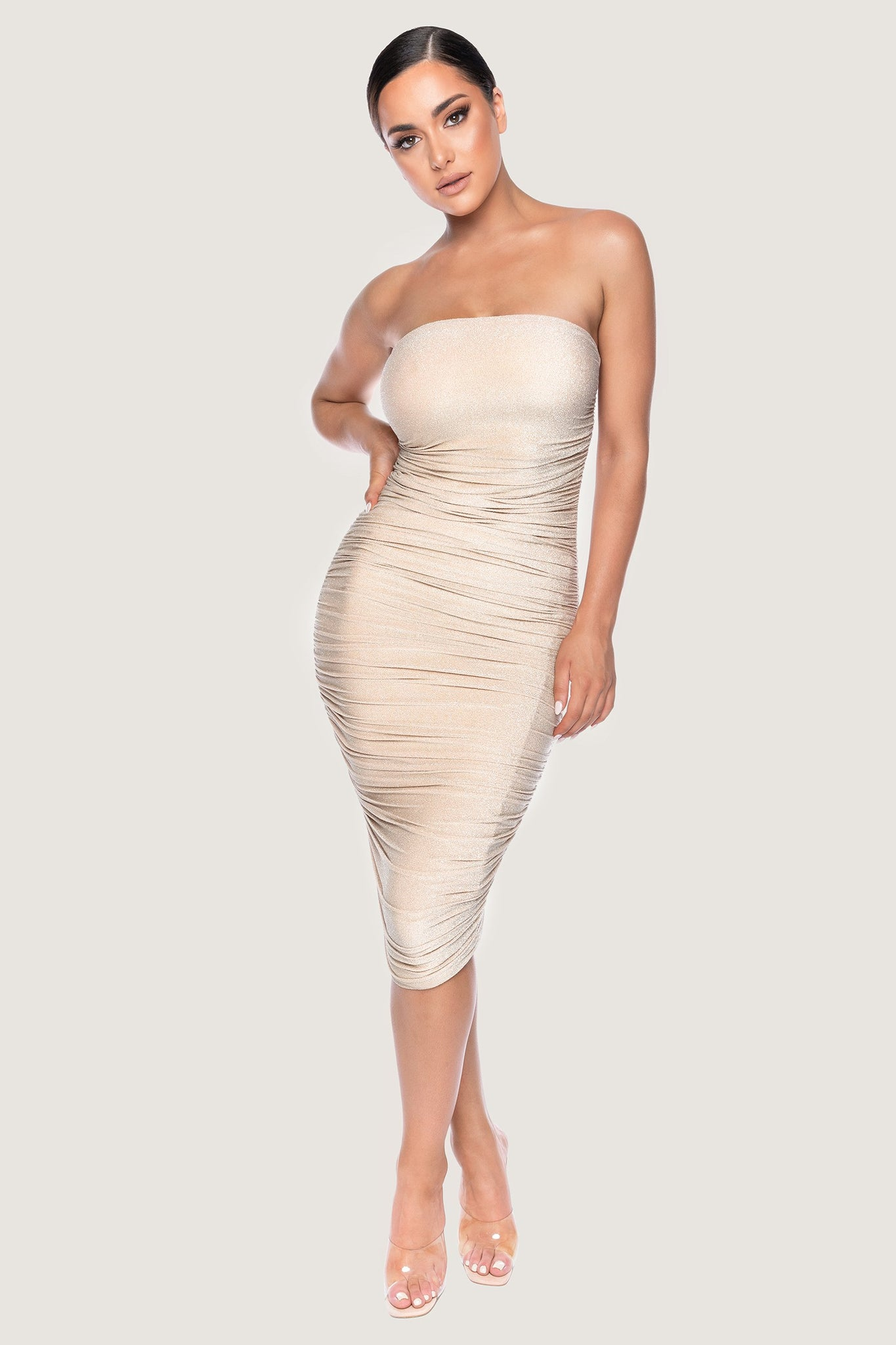 Meshelle Shimmer Ruched Strapless Midi Dress - Gold - MESHKI