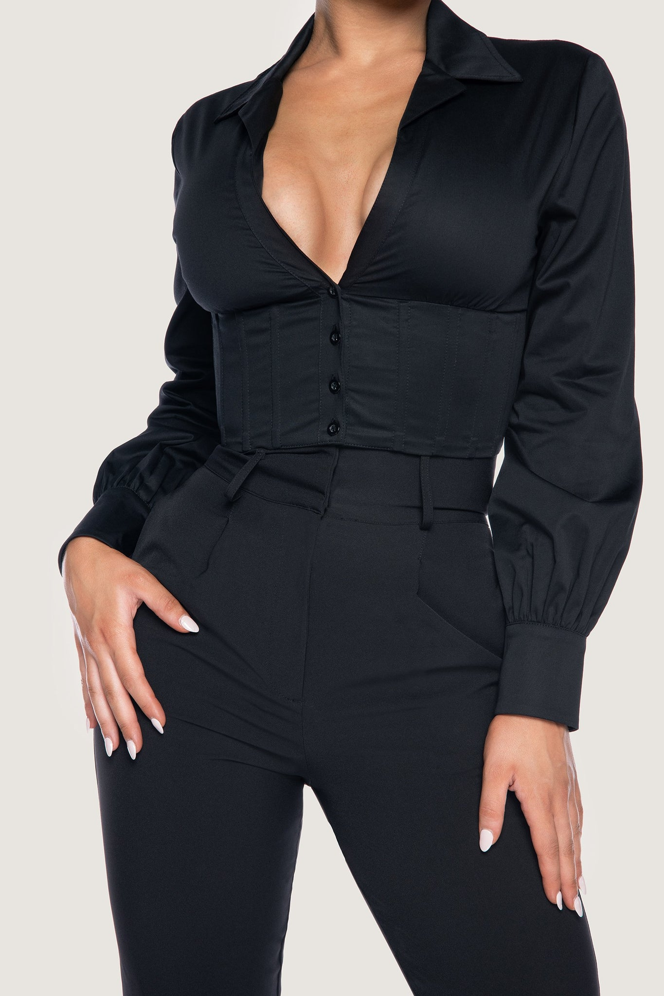 Adaline Long Sleeve Cropped Wrap Shirt - Black - MESHKI