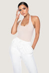 Miley Ribbed Halter Neck Bodysuit - Nude