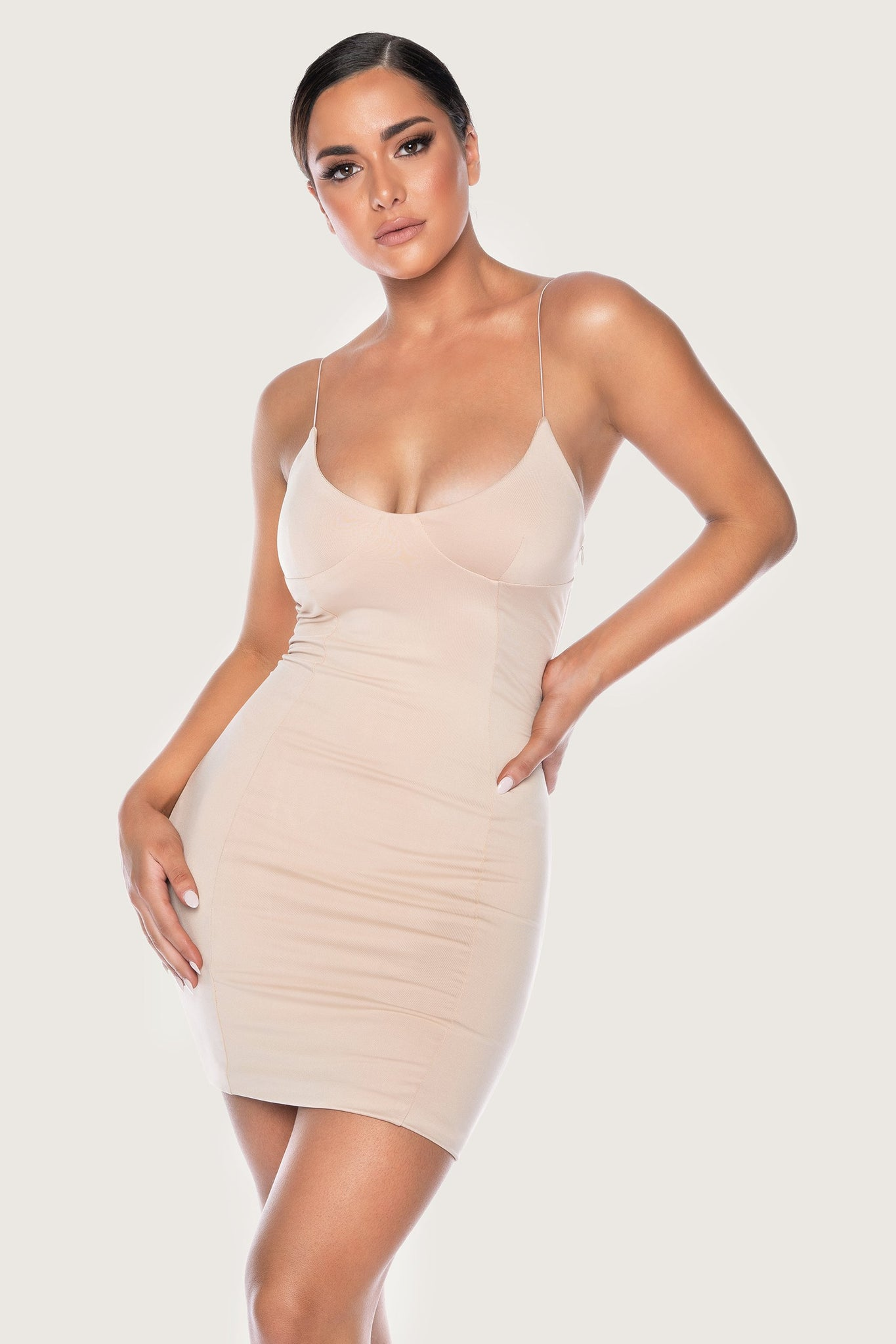 Cenza Thin Strap Bodycon Mini Dress - Nude - MESHKI