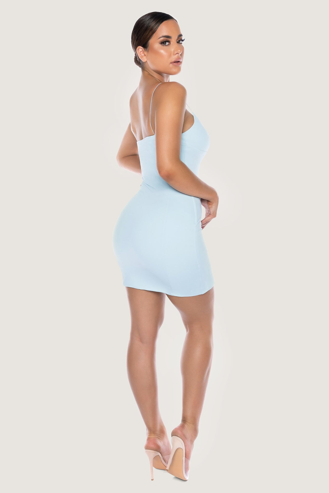 Cenza Thin Strap Bodycon Mini Dress - Baby Blue - MESHKI