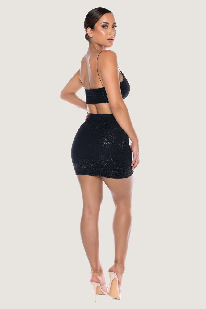 Paislee Glitter Thin Strap Crop Top - Black - MESHKI